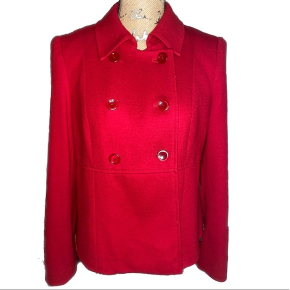 NWOT- Red Wool Peacoat Blazer/ Jacket